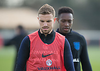 Jordan Henderson of England and Danny Welbeck of England during the England National Team Training ahead of the international friendly match with Italy at Tottenham Hotspur Training Ground, Hotspur Way, England on 26 March 2018. Photo by Vince  Mignott.