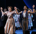 Lindsay Mendez and Amir Ramasarduring the Opening Night Curtain Call for 'Carousel' at the Imperial Theatre on April 12, 2018 in New York City.