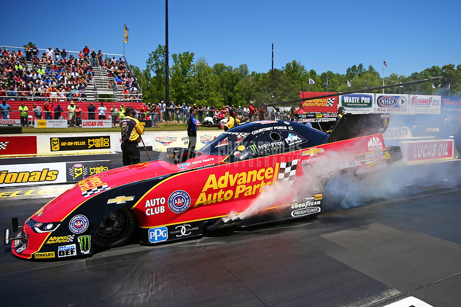 May 7, 2017; Commerce, GA, USA; NHRA funny car driver Courtney Force during the Southern Nationals at Atlanta Dragway. Mandatory Credit: Mark J. Rebilas-USA TODAY Sports