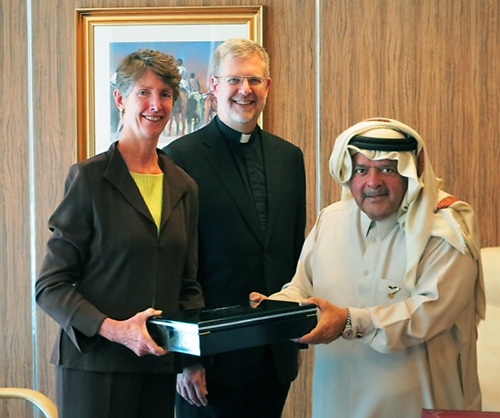 WEB QUALITY ONLY - Jay Braatz, senior executive for presidential operations, and the Rev. Dennis H. Holtschneider, C.M., president of DePaul University, with Sheik Faisal bin Qassim Al Thani who presented each member of the DePaul delegation with a set of Frankincense items. University officials visited Sheikh Faisal to present DePaul's proposal for the Driehaus College of Business'  Center for Entrepreneurship in the Middle East. (DePaul University / GianMario Besana