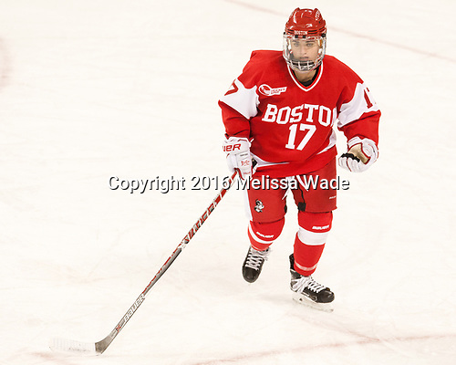 Breanna Scarpaci (BU - 17) - The Boston College Eagles defeated the visiting Boston University Terriers 5-3 (EN) on Friday, November 4, 2016, at Kelley Rink in Conte Forum in Chestnut Hill, Massachusetts.The Boston College Eagles defeated the visiting Boston University Terriers 5-3 (EN) on Friday, November 4, 2016, at Kelley Rink in Conte Forum in Chestnut Hill, Massachusetts.