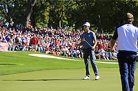 Thomas Pieters (Team Europe) putts to win his match during Sunday Singles matches at the Ryder Cup, Hazeltine National Golf Club, Chaska, Minnesota, USA. 02/10/2016<br /> Picture: Golffile | Fran Caffrey<br /> <br /> <br /> All photo usage must carry mandatory copyright credit (&copy; Golffile | Fran Caffrey)