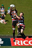 Rupeni Nasiga & Dean Cummins both jump for the high ball. Air New Zealand Cup rugby game between the Counties Manukau Steelers & Manawatu Turbos, played at Growers Stadium Pukekohe on Staurday September 20th 2008..Counties Manukau won 27 - 14 after trailing 14 - 7 at halftime.
