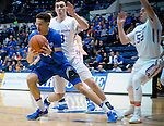 March 4, 2017:  Air Force forward, Hayden Graham #35, takes control of a loose ball during the NCAA basketball game between the Boise State Broncos and the Air Force Academy Falcons, Clune Arena, U.S. Air Force Academy, Colorado Springs, Colorado.  Boise State defeats Air Force 98-70.