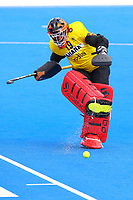 India's goalkeeper Vikas Dahiya kicks a shot away during the Hockey World League Semi-Final match between Pakistan and India at the Olympic Park, London, England on 18 June 2017. Photo by Steve McCarthy.