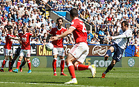 Bolton Wanderers' Adam Le Fondre scoring his side's first goal<br /> <br /> Photographer Andrew Kearns/CameraSport<br /> <br /> The EFL Sky Bet Championship - Bolton Wanderers v Nottingham Forest - Sunday 6th May 2018 - Macron Stadium - Bolton<br /> <br /> World Copyright &copy; 2018 CameraSport. All rights reserved. 43 Linden Ave. Countesthorpe. Leicester. England. LE8 5PG - Tel: +44 (0) 116 277 4147 - admin@camerasport.com - www.camerasport.com