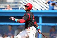 Batavia Muckdogs infielder Roberto Reyes #4 during a game against the Auburn Doubledays at Dwyer Stadium on June 19, 2011 in Batavia, New York.  Auburn defeated Batavia 6-4.  (Mike Janes/Four Seam Images)