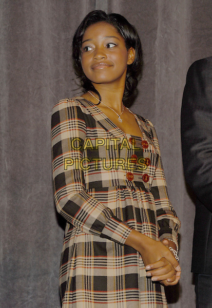"KEKE PALMER.""Cleaner"" Premiere held at Roy Thomson Hall, Toronto, Ontario, Canada, 11 September 2007..half length beige and red tartan plaid dress buttons.CAP/ADM/BP.©Brent Perniac/AdMedia/Capital Pictures."