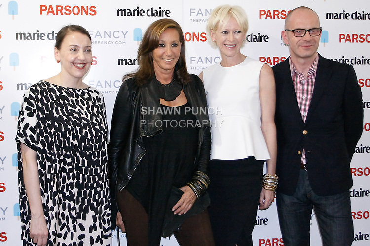 """Shelly Fox, Donna Karan and others pose at """"The First Eighteen"""", Parsons MFA Fashion Exhibition Reception opening hosted by Donna Karan at 1359 Broadway NYC, May 14, 2012."""