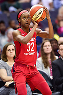 Washington, DC - June 3, 2018: Washington Mystics guard Shatori Walker-Kimbrough (32) looks to shoot the ball during game between the Washington Mystics and Connecticut Sun at the Capital One Arena in Washington, DC. (Photo by Phil Peters/Media Images International)