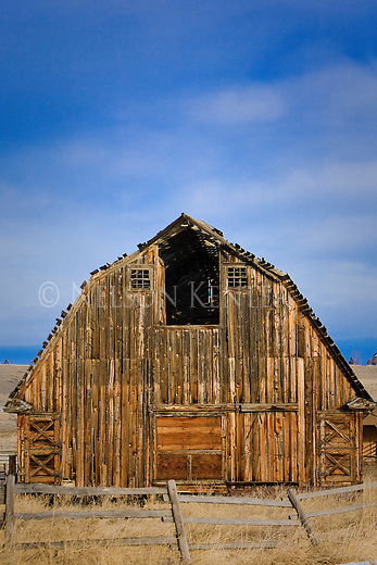 Old wood barn in the Bitterroot Valley in western Montana