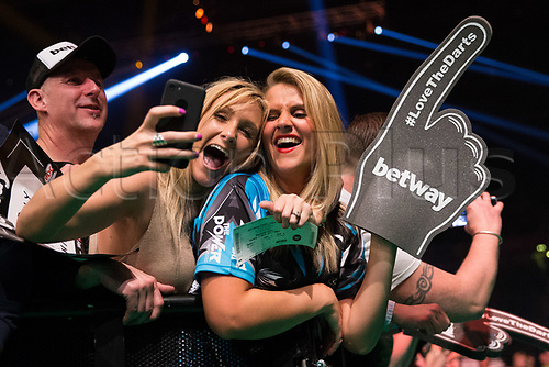 March 23rd 2017, Manchester, England; PDC Darts League, Manchester; Two female fans take a selfie