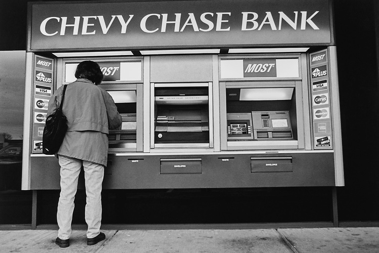 Woman at ATM, Virginia, on March 10, 1997. (Photo by CQ Roll Call via Getty Images)