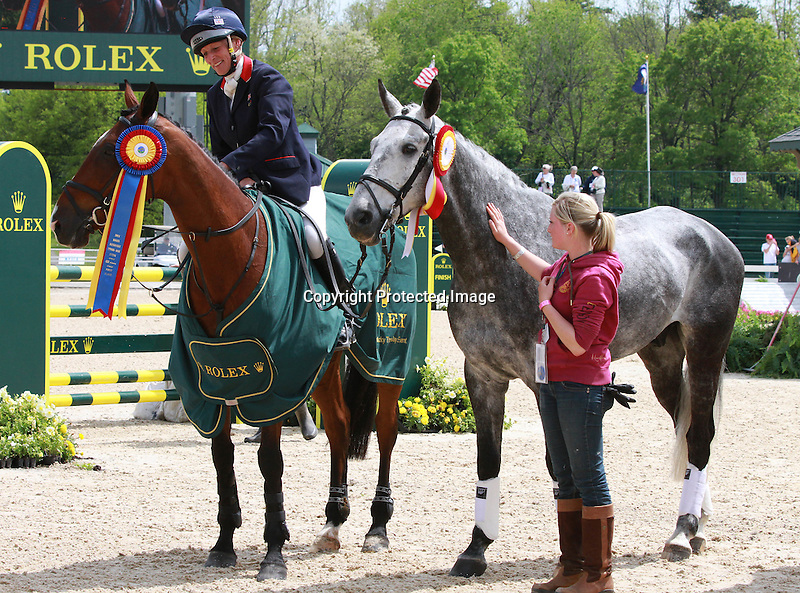 01 May 2011. Kings Temptress and Mary King from Great Britain win the 2011 Rolex Three Day Event when they finish the jumping course with a clean round.  Pictured here along with Fernhill Urco whom Mary finished 2nd on in the competition.