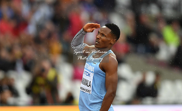 Isaac Makwala (BOT) salutes the spectators agter qualifing for the mens 200m semi-finals following being initially banned from running. IAAF world athletics championships. London Olympic stadium. Queen Elizabeth Olympic park. Stratford. London. UK. 09/08/2017. ~ MANDATORY CREDIT Garry Bowden/SIPPA - NO UNAUTHORISED USE - +44 7837 394578