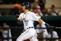 Lakeland Flying Tigers second baseman Anthony Pereira (9) follows through on a swing during a game against the Tampa Tarpons on April 5, 2018 at Publix Field at Joker Marchant Stadium in Lakeland, Florida.  Tampa defeated Lakeland 4-2.  (Mike Janes/Four Seam Images)