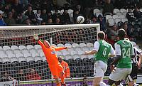 Craig Samson diving in the St Mirren v Hibernian Clydesdale Bank Scottish Premier League match played at St Mirren Park, Paisley on 29.4.12.