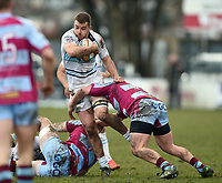 Josh Buggea of Bedford Blues takes on the Rotherham defence. Greene King IPA Championship match, between Rotherham Titans and Bedford Blues on January 17, 2018 at Clifton Lane in Rotherham, England. Photo by: Patrick Khachfe / Onside Images