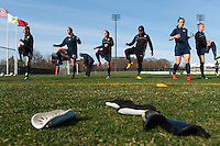 Sky Blue FC players warm up prior to playing the Western New York Flash in a National Women's Soccer League (NWSL) match at Yurcak Field in Piscataway, NJ, on April 14, 2013.