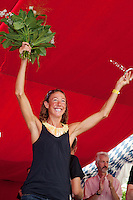 Chrissie Wellington at the awards ceremony after her win at the Challenge Roth Ironman Triathlon, Roth, Germany, 11 July 2011