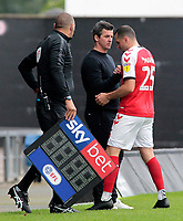 Fleetwood Town Manager Joey Barton shakes hands with Dean Marney after being subsituted<br /> <br /> Photographer David Shipman/CameraSport<br /> <br /> The EFL Sky Bet League One - Oxford United v Fleetwood Town - Saturday August 11th 2018 - Kassam Stadium - Oxford<br /> <br /> World Copyright &copy; 2018 CameraSport. All rights reserved. 43 Linden Ave. Countesthorpe. Leicester. England. LE8 5PG - Tel: +44 (0) 116 277 4147 - admin@camerasport.com - www.camerasport.com