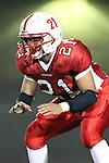 Lawndale, CA 10/01/10 - Raymon Alvarado (C)  (Lawndale #21) in action during the Peninsula-Lawndale Varsity football game.