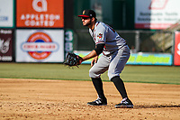 Quad Cities River Bandits first baseman Spencer Johnson (17) fields his positionduring a Midwest League game against the Wisconsin Timber Rattlers on April 8, 2017 at Fox Cities Stadium in Appleton, Wisconsin.  Wisconsin defeated Quad Cities 3-2. (Brad Krause/Four Seam Images)