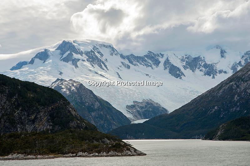 Pia Glacier in the Darwin Mountain Range in Tierra del Fuego in Patagonia Chile