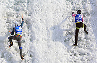 January 5th 2020, Changchun, China;  Anton Nemov R and Nikita Glazyrin of Russia compete during the mens speed final at 2019-2020 UIAA International Climbing and Mountaineering Federation Ice Climbing World Cup at Lotus Mountain in Changchun, capital of northeast China s Jilin Province