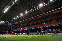 Spain's players during the pre-International Friendly training session of the Spain squad at the Principality Stadium, Cardiff, UK. Wednesday 10 October 2018