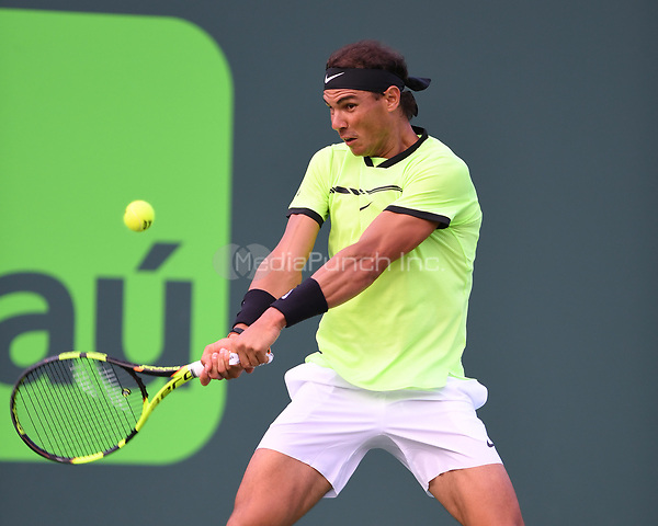 KEY BISCAYNE, FL - MARCH 26 : Rafael Nadal Vs Philipp Kohlschreiber during the Miami Open at Crandon Park Tennis Center on March 26, 2017 in Key Biscayne, Florida. Credit: mpi04/MediaPunch