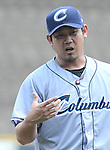 Daisuke Matsuzaka (Clippers),<br /> JUNE 11, 2013 - MLB :<br /> Daisuke Matsuzaka of the Columbus Clippers injures his right thumb in the third inning during minor's International League (Triple-A) baseball game against the Gwinnett Braves at Coolray Field in Lawrenceville, Georgia, United States. (Photo by AFLO)