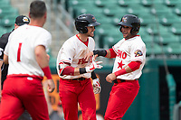 Fresno Grizzlies left fielder Yadiel Hernandez (13) is congratulated by Alec Keller (9) after scoring the game-winning run during a game against the Reno Aces at Chukchansi Park on April 8, 2019 in Fresno, California. Fresno defeated Reno 7-6. (Zachary Lucy/Four Seam Images)
