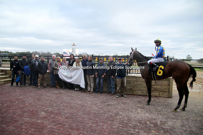 January 24, 2020: Gold Street with jockey Martin Garcia aboard in the winning circle after winning the Smarty Jones Stakes at Oaklawn Racing Casino Resort in Hot Springs, Arkansas on January 24, 2020. Justin Manning/Eclipse Sportswire/CSM