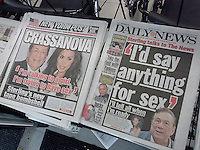Headlines of New York tabloid newspapers are seen on Saturday, May 10, 2014 reporting on Donald Sterling and National Basketball Association's punishment of him for his racist rant. Recently released tapes allegedly show Sterling ranting about black basketball players and spectators at the Clippers' games. The NBA banned him for life and fined him $2.5 million. (© Richard B. Levine)