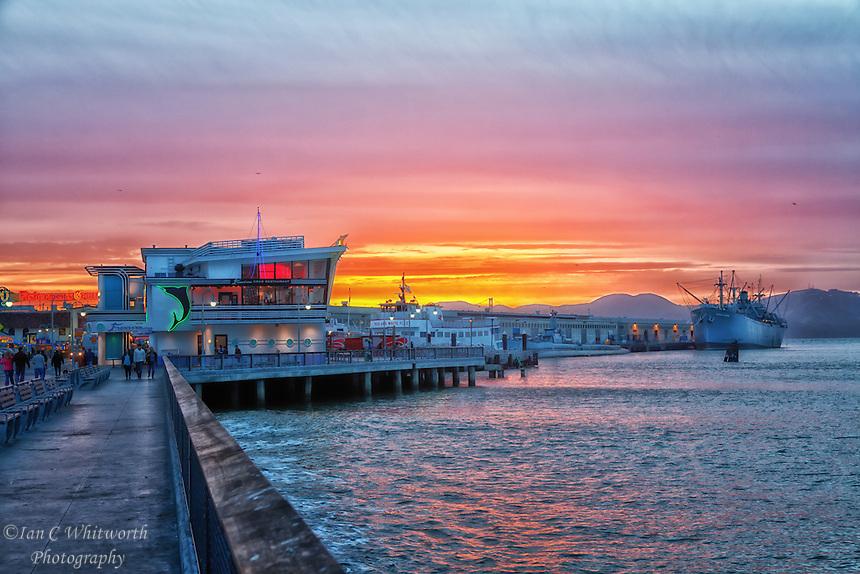 Looking along Fisherman's Wharf at sunset.