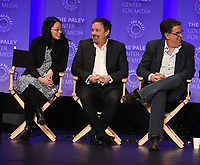 "HOLLYWOOD, CA - MARCH 17: Cherry Chevapravatdumrong, Jason Clark and David Goodman at the PaleyFest 2018 - ""The Orville"" panel at the Dolby Theatre on March 17, 2018 in Hollywood, California. (Photo by Scott Kirkland/Fox/PictureGroup)"