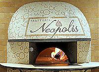 Custom mosaic retail signs - Trattoria Neapolis pizza oven in Tavertine White, Saint Laurent, Travertine Noce, Giallo, and Rojo Alicante.  Located in Pasadena, California.