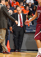 Nov 6, 2010; Charlottesville, VA, USA; Roanoke College head oach Page Moir shows his dissappointment Saturday afternoon in exhibition action at John Paul Jones Arena. The Virginia men's basketball team recorded an 82-50 victory over Roanoke College.