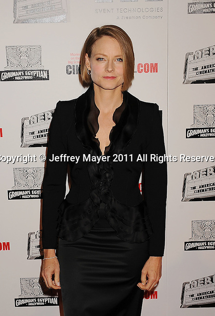 BEVERLY HILLS, CA - OCTOBER 14: Jodie Foster arrives at the The 25th American Cinematheque Award Honoring Robert Downey Jr. at The Beverly Hilton hotel on October 14, 2011 in Beverly Hills, California.
