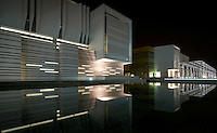 Al Ain University at night with view from water feature