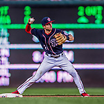 28 April 2017: Washington Nationals infielder Trea Turner turns a double play in the 3rd inning against the New York Mets at Nationals Park in Washington, DC. The Mets defeated the Nationals 7-5 to take the first game of their 3-game weekend series. Mandatory Credit: Ed Wolfstein Photo *** RAW (NEF) Image File Available ***