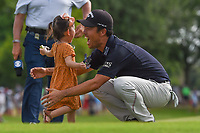 Kevin Na (USA) welcomes his daughter to the green on 18 after winning the 2019 Charles Schwab Challenge, Colonial Country Club, Ft. Worth, Texas,  USA. 5/26/2019.<br /> Picture: Golffile | Ken Murray<br /> <br /> All photo usage must carry mandatory copyright credit (© Golffile | Ken Murray)