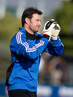 Earthquakes' goalkeeper Joe Cannon applauds to the fans during warm-ups before the game against Real Salt Lake at Buck Shaw Stadium in Santa Clara, California on March 27th, 2010.   Real Salt Lake defeated San Jose Earthquakes, 3-0.
