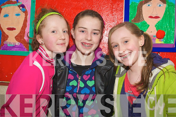 Enjoying Arts Week at scoil Eoin, Baloonagh, Tralee, on Friday were Julia O'Connor, Courtney Ryan and Eva Lee.