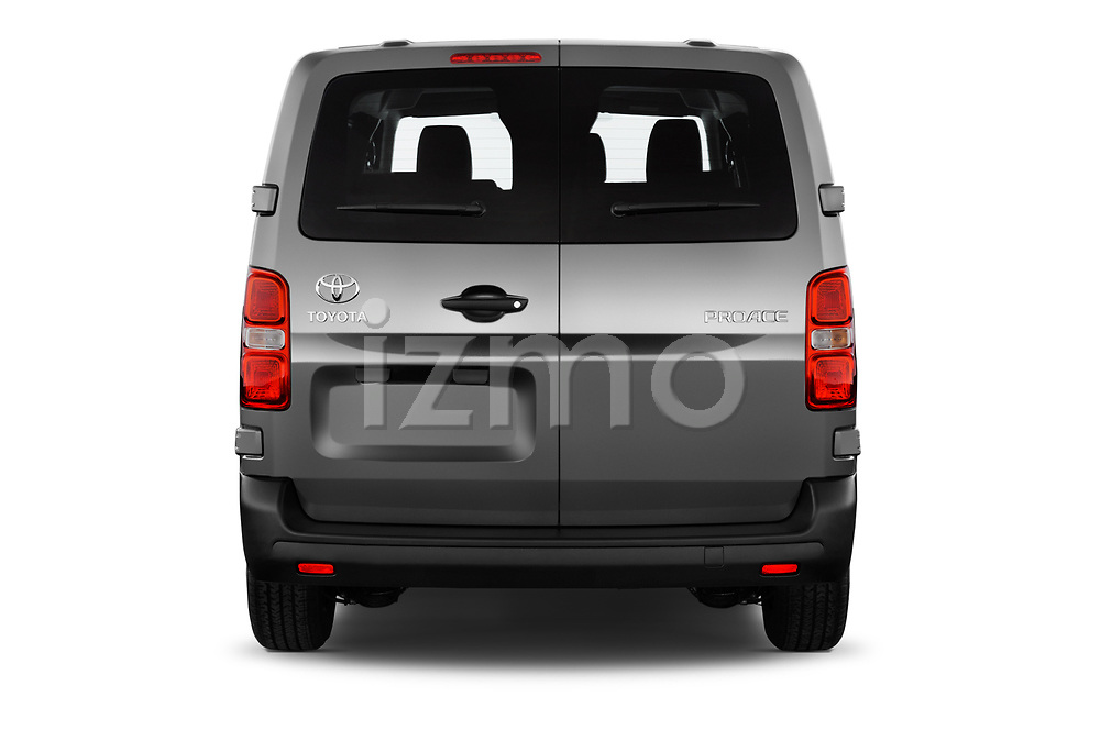 Straight rear view of 2017 Toyota Proace-Verso Medium 5 Door Passenger Van Rear View  stock images