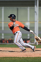 Third baseman Ronarsy Ledesma (60) of the Baltimore Orioles organization during a minor league spring training camp day game on March 23, 2014 at Buck O'Neil Complex in Sarasota, Florida.  (Mike Janes/Four Seam Images)