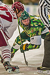 24 November 2013: University of Vermont Catamount Forward Jake Fallon, a Junior from Southlake, Texas, in second period action against the University of Massachusetts Minutemen at Gutterson Fieldhouse in Burlington, Vermont. The Cats wore special camouflage jerseys to celebrate Military Appreciation Day. The game-worn jerseys were auctioned off with proceeds benefiting the Vermont Veterans Fund (VVF). The Catamounts shut out the Minutemen 2-0 to sweep the 2-game home-and-away weekend Hockey East Series. Mandatory Credit: Ed Wolfstein Photo *** RAW (NEF) Image File Available ***