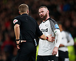 Referee Craig Pawson has words with Wayne Rooney of Derby County during the FA Cup match at the Pride Park Stadium, Derby. Picture date: 5th March 2020. Picture credit should read: Darren Staples/Sportimage