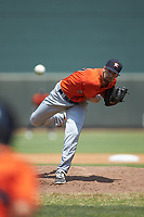 Buies Creek Astros starting pitcher Carson LaRue (17) delivers a pitch to the plate against the Winston-Salem Dash at BB&T Ballpark on July 15, 2018 in Winston-Salem, North Carolina. The Dash defeated the Astros 6-4. (Brian Westerholt/Four Seam Images)
